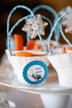 Cute snack idea from a Frozen themed birthday party via Kara's Party Ideas KarasPartyIdeas.com Cake, printables, decor, invitation, games, etc! #frozen #frozenparty #letitgo #winterwonderland