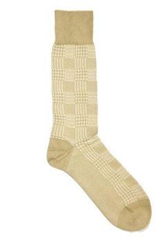 Carlotti Tan and Cream Houndstooth Checked Socks