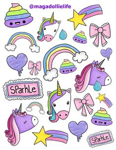 Magical Unicorn Sticker Art for X 11 inch Sticker Paper Cute Unicorn, Rainbow Unicorn, Unicorn Party, Magical Unicorn, Rainbow Art, Printable Stickers, Cute Stickers, Planner Stickers, Kawaii Drawings