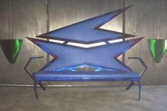 """Blue Couch"" by Dan Statler  Retro space age googie metal furniture. #googie #vulturekulture"