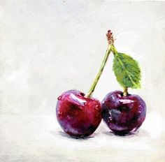 Cherry Pair 4x4 Kitchen Art Original Painting A Day Sunnyavocado Fruit Food | eBay