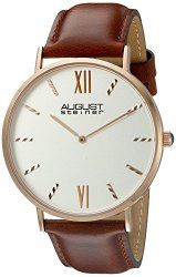 August Steiner Men's AS8166RGBR Round Silver Dial Two Hand Quartz Rose Gold Tone Strap Watch