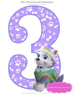 Paw Patrol Birthday Number 3 - Instant Download  ☆ Create your own centerpieces with this fun Paw Patrol party centerpiece set. Also great for invitations, party printables & photo booth prop & decorations.  ★★PLEASE READ BEFORE PURCHASE★★  ☆ This listing is ONLY for the NUMBER 3 listed above. If you would like a DIFFERENT NUMBER and/or character that is not currently in our shop, please contact me BEFORE purchase and let me know what character and number you would like and I wil... Paw Patrol Everest, Paw Patrol Party Decorations, Girl Birthday Decorations, Happy Birthday Baby, 3rd Birthday Parties, 2nd Birthday, Birthday Ideas, Paw Patrol Birthday Girl, Cumple Paw Patrol