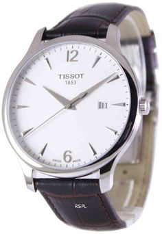 Tissot T-Classic Tradition Men's Watch Features: Stainless Steel Case Brown Leather Strap Quartz Movement Caliber: Sapphire Crystal Silver Dial Date Display Buckle Clasp Water Resistance Approximate Case Diameter: Approximate Case Thickness: Best Mens Luxury Watches, Best Watches For Men, Cheap Watches, Cool Watches, Men's Watches, Tissot Mens Watch, Tissot T Race, Authentic Watches, Mens Watches Leather
