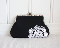 double frame purse with vintage lace by Tuuni on Etsy, €28.05