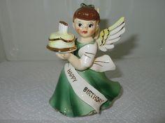 Vtg ARDALT Japan Porcelain HAPPY BIRTHDAY ANGEL Figurine Holding Cake
