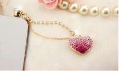 Pink Crystal Heart IPhone Anti Dust Plug, IPhone Dust Charm on Luulla Custom Jewelry, Unique Jewelry, Jewelry Gifts, Dust Plug, Iphone Accessories, Hair Accessories, Ring Earrings, Charm Jewelry, Bridal Jewelry