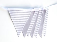 Grey White Stripe Fabric Bunting Garland Banner - Bedroom/Nursery/Party/Photoshoot Decor by FeteDesignsCanada on Etsy Bunting Garland, Fabric Bunting, Bias Tape, Striped Fabrics, Grey And White, Playroom, Banner, Nursery