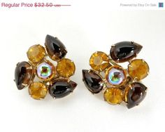 Vintage Juliana Brown and Orange Earrings by LeesVintageJewels