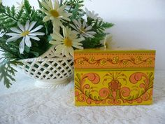 Cute Vintage Avon Recipe Box And Unopened Package Of Filing Cards - Orange, Yellow, Green by MossyCottage on Etsy