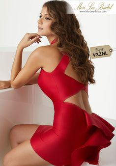 Style VXZNLHigh Halter Larissa Satin Party Dress with Double Keyhole BackHigh Halter Larissa Satin with Double Keyhole Back, Ruffled Back Skirt. Colors Available: Red, Navy, Black.