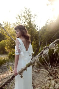 More beautiful gowns from Lara Hannah's 2014 Magic Circle bridal collection. Above and below, Priestess inspired silk crepe wedding dress with Crepe Wedding Dress, Wedding Dress Trends, Gorgeous Wedding Dress, Wedding Dress Sleeves, Dream Wedding Dresses, Wedding Gowns, Dress Lace, Bridal Cape, Bridal Gowns