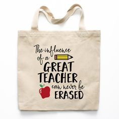 The Influence Of A Great Teacher Canvas Tote Bag A great tote bag can be everything! This roomy and durable tote bag is great for carrying everything: books, crafting supplies, groceries, and anything else you need to take with you. Each bag is prin Teacher Canvas, Teacher Tote Bags, Personalized Teacher Gifts, Teacher Appreciation Week, Volunteer Appreciation, Principal Appreciation, Teachers' Day, Printed Tote Bags, Thank You Gifts