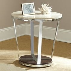 Steve Silver Bosco Round Faux Marble End Table - modern - dining ...