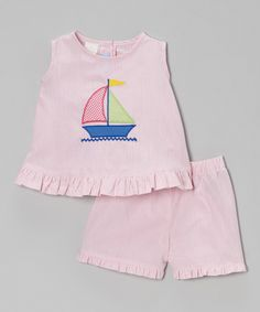 Love this Monday's Child Pink Sailboat Ruffle Tank & Shorts - Infant, Toddler & Girls by Monday's Child on #zulily! #zulilyfinds