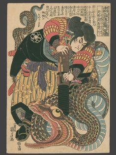 """jibadojo: """" Ogata Shuma Hiroyuki (Jiraiya) with a Heavy Gun Overcoming a Huge Snake Which Tried to Eat His Friends, the Magic Toads """""""