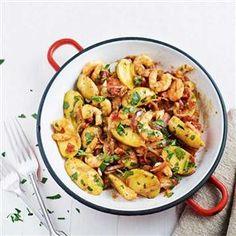 New potatoes, king prawns and chorizo with tomato and chilli Recipe | delicious. Magazine free recipes