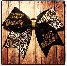 Cheer like a BEAUTY, Train like a BEAST bow.   www.facebook.com/MidnightBows Instagram - @MidnightBows