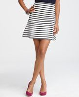 "Striped Flounce Skirt - With a nod to bold style, this have-to-have skirt is shaped with flounced sides and arresting stripes for a scene-stealing look. Exposed metal back zipper with snap closure. 19"" long."