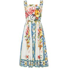 Peter Pilotto Printed Cotton Dress (2 161 830 LBP) ❤ liked on Polyvore featuring dresses, print, cut out shoulder dress, cut-out shoulder dresses, white circle skirt, print dresses and skater skirt