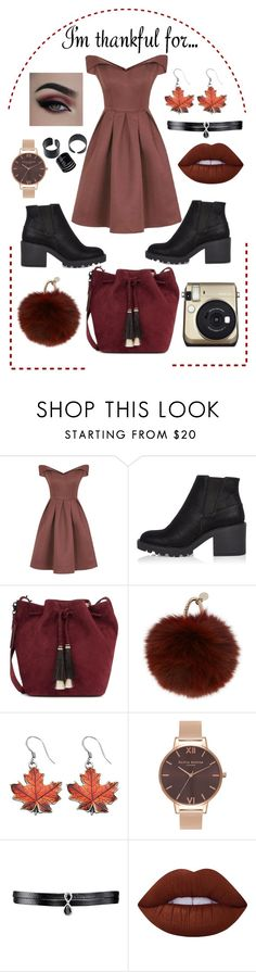 """""""I'm Thankful For..."""" by itsrydell ❤ liked on Polyvore featuring Chi Chi, River Island, Loeffler Randall, Yves Salomon, Olivia Burton, Fallon, Lime Crime and imthankfulfor"""