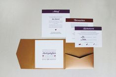 pocketfold einladungskarte in kupfer, marsala und aubergine | wedding invitation in copper and marsala