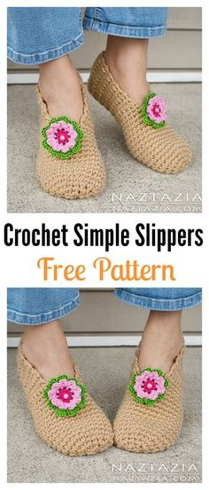 Crochet Simple Slippers Free Pattern and Video Tutorial - Make for Hospital Donation