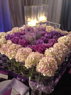 SOOOO gorgeous!! Lush purple and white hydrangea centerpiece with candles. #Hydrangea #Centerpieces