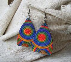 veľké dúhové Crochet Earrings, Drop Earrings, Handmade, Jewelry, Fashion, Fimo, Hand Made, Jewlery, Moda