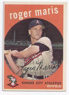 1959 Topps Roger Maris year card) [ (Kansas City A's) Vintage Baseball Cards Baseball Card Values, Baseball Cards For Sale, Football Cards, Football Photos, Baseball Series, Sports Baseball, Tnt Basketball, Baseball Players, Baseball Teams