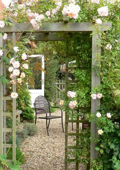 pergola, trellis offset from the posts as a kind of wall