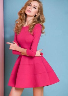 Red Long Sleeve Ruffle Dress - Fashion Clothing, Latest Street Fashion At Casual Dresses, Short Dresses, Fashion Dresses, Pink Dresses, Frilly Dresses, Skater Dresses, Ruffle Dress, Dress Skirt, Dress Form