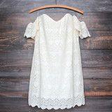 off the shoulder bohemian princess crochet dress - natural - small / natural