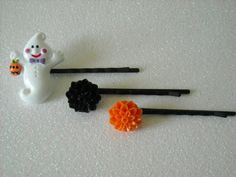 Halloween Ghost and Black & Orange Mum flowers by OctoberPetals, $8.75