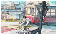 "Happy New Year! Fifth illustration from the ""Bicycle Boy"" series! This one gave me a lot of trouble and took two days on and off to complete. I really like Japanese trains so I decided to put one in the series. As the series is more or less half done, I will take a little break from it, and do some other stuff and sketching while I consider where to go with the story. ALSO: thank you very much for all the sharing, rebloging, and following! My blog was recently featured on ""Trending on…"