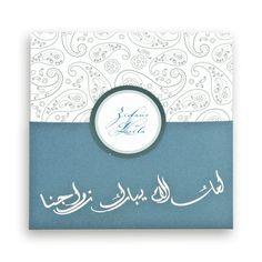faire part mariage oriental pochette turquoise argentencart cachemire j0060 - Pochette Argente Mariage
