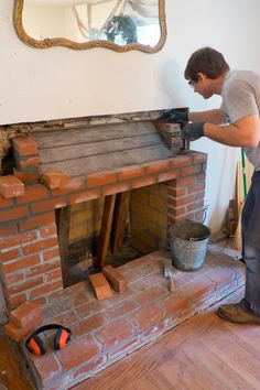 DIY: How to Reface a Brick Fireplace - this is an excellent post that shows every step involved in renovating an old fireplace - via Domestic Fashionista Reface Brick Fireplace, Build A Fireplace, Rustic Fireplaces, Fireplace Design, Fireplace Mantels, Dining Room Wall Decor, Diy Bedroom Decor, Painted Furniture, Teal Furniture