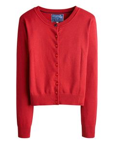 Joules null Womens Everyday Cardigan, Red.                     A stylish everyday essential in the softest cotton and with a touch of cashmere too. The pointelle-stitch detailing lifts it out of the ordinary and makes it a great option to layer over our tunics and dresses.