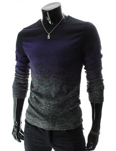 TheLees (DKK6) Mens Casual Slim Fit Round Neck Gradient Color Knit Tshirts