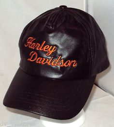 Orange Harley Davidson Script on Black LEATHER HAT CAP Adjustable Motorcycle