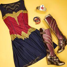 Wonder Woman Outfit, Wonder Woman Art, Wonder Women, Wonder Woman Clothes, Women's Dresses, Party Dresses, Fashion Dresses, Amazonian Warrior, Nerd Fashion