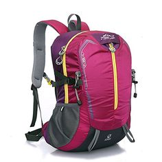 Diamond Candy Outdoor Hiking Climbing Backpack Daypacks Waterproof Mountaineering Bag 32L Unisex Highcapacity Travel Bag pink *** You can get additional details at the image link.