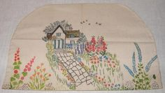 Vintage English Country Cottage Garden Teapot Cozy Painted Embroidery Canvas | eBay