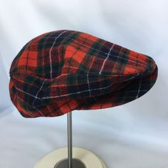 c3d4b28e Details about Vtg Pendleton Wool Red Plaid Newsboy Cabbie Driving Gatsby  Golf Hat Cap USA L