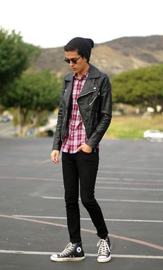 Topman Biker Jacket, H&M Plaid Shirt, H&M Skinny Jeans, Converse Leather High Tops