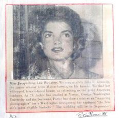 Nadire Atas on the Kennedy Glamour Jackie and Jack's engagement notice in a newspaper 1953 Jacqueline Kennedy Onassis, Kennedy Wife, Familia Kennedy, James Lee, John Junior, Freckle Face, Cover Pics, Jfk, History