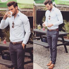 Easy Gentleman style )) Light Blue shirt+ Gray chinos + Brown shoes + Brown Belt (by) Kirill Govorov