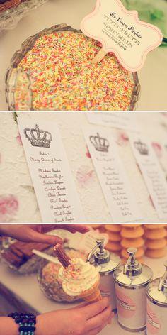 ice cream sundae bar! Great idea for birthday or wedding party
