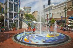 The fountain in the heart of downtown silver spring. During the summer, kids play in the water to cool off.