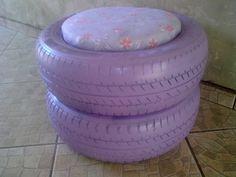 Puff artesanal de pneu reciclado 005